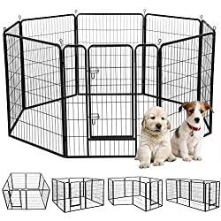 """Yaheetech 39"""" H 8 Panel Portable Metal Fence Folding Pet Playpen with Door/Gate for Large/Small Animals Outdoor/Indoor Dog/Cat/Puppy/Rabbits Exercise/Play Pen 8 Panels"""