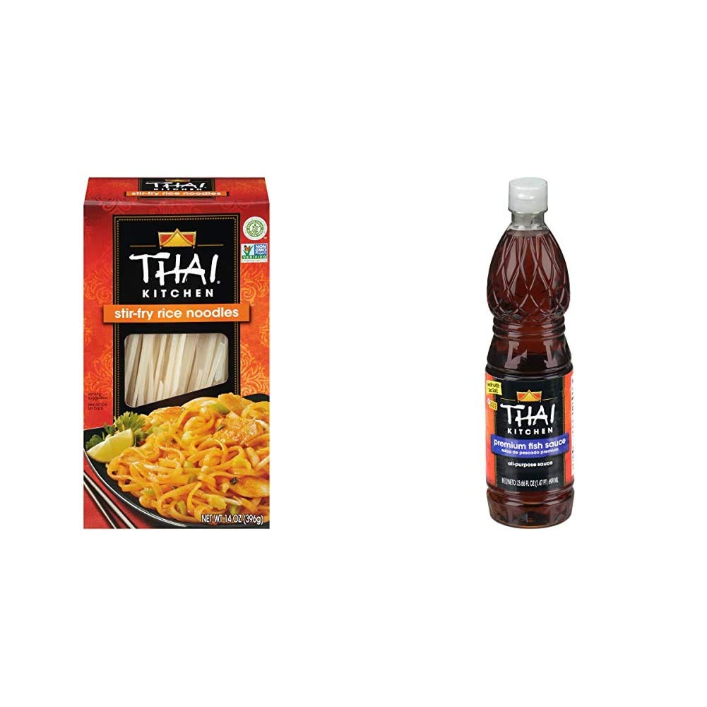 Thai Kitchen Gluten Free Stir Fry Rice Noodles, 14 oz (Pack of 6) & Premium Fish Sauce, 23.66 fl oz