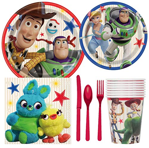 Disney Toy Story 4 Birthday Party Supplies Pack Including Cake & Lunch Plates, Cutlery, Cups, Napkins (8 Guests)