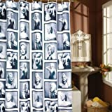 SKL 5.9' X 5.9' Retro Black and White Marilyn Monroe Shower Curtain with Hooks