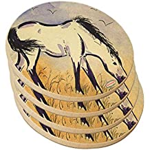 Ceramic Sandstone Drink Coaster Set - Marsh Tacky Pony in Purple Mustang Wild Horse Art by Denise Every