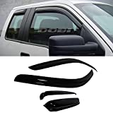 VioGi 4pcs Front Rear Smoke Sun/Rain Guard Vent Shade Window Visors For 97-03 Ford F-150 97-99 Ford F-250 Light Duty Super/Extended Cab With 2 Half Size Rear Doors
