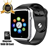 Smart Watch A1 Phone Bluetooth with 16GB SD Card and SIM Card Slot for Android Samsung S5 S6 Note 4 5 HTC Sony LG and iPhone 5 5S 6 6 Plus Smartphones (Black)