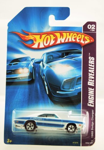 Auto Wheels Hot (Hot Wheels - 2007 - Engine Revealers - 1969 Dodge Charger - 02/04 in Series - White & Blue - #058/180 - Limited Edition - Collectible)