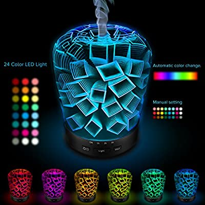 Moonsteps Aromatherapy Essential Oil Diffuser, 180Ml Ultrasonic Cool Mist Humidifier with 3D Effect 14 Color Changing LED Lights for Home Office Baby
