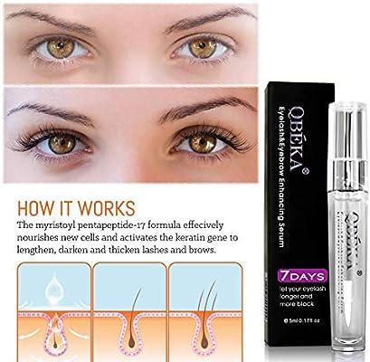 QBEKA Eyelash Growth Serum, Lash Serum, Eyelash Extensions Serum Liquid, Natural Advanced Eyelash Conditioner - for Lash Boost, Longer Fuller Thicker Eyelash and Eyebrow Growth Serum,5ml 0.17 fl oz