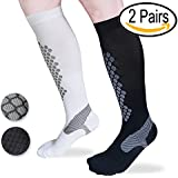 Compression Socks For Women/Men 2 Pairs Best for Running, Athletic, Edema,Travel, Maternity