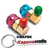 Biltek R134a A/C Manifold Gauge Conversion Kit High Low Angle Quick Adapter ACME + KapscoMoto Keychain