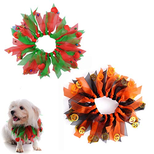 M2cbridge Dog Cat Holiday Halloween Christmas Collar Pet Party Dress, Pack of 2 Styles -