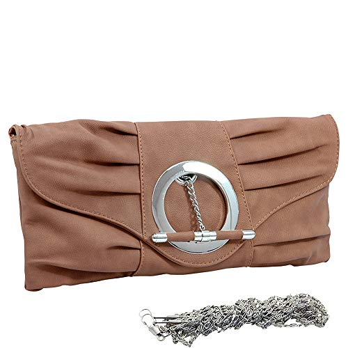 (Dasein Pleated Front Clutch Purse with Ring (Brown))