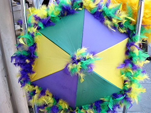 New Orleans Mardi Gras Second Line Umbrella with Purple, Green, Yellow Feather Accent