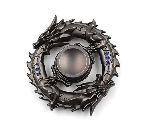 MTELE Fidget Spinner Metal Hand Spinner EDC ADHD Focus Toy Ultra Durable High Speed Anxiety Relief Toy,Black Chinese Dragon