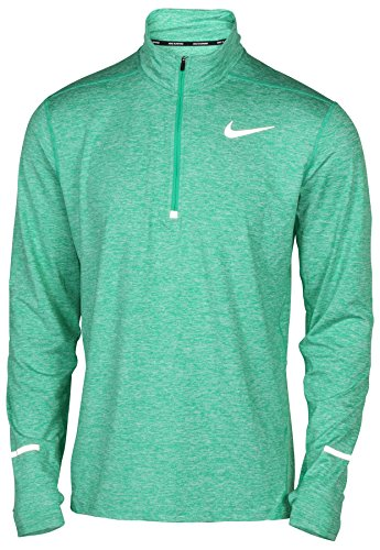 NIKE Men's Dry Element Running Top (Large, Spectrum Green/Reflective Silver) Dri Fit Mock Neck Shirt