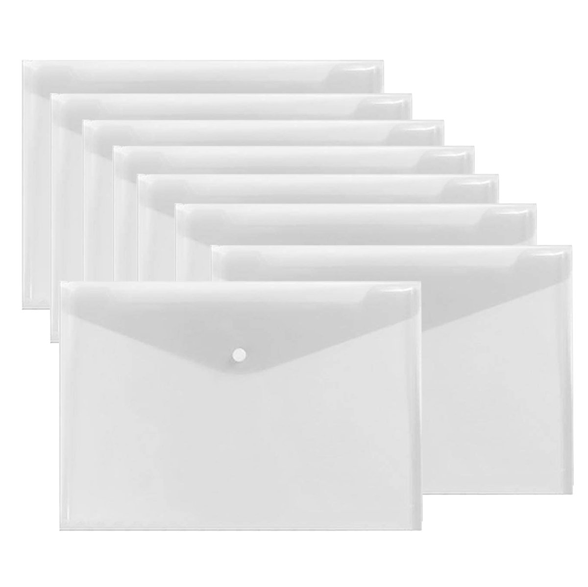 Warmter Poly Envelopes Clear Folder Plastic Clear Folders Clear Document Folder with Snap Button US Letter/A4 Size Set of 12 White