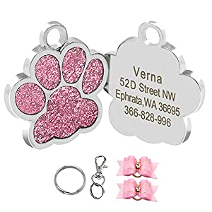 Didog Glitter Paw Print Pet ID Tags for Small Dogs and Cats,Personalized Egraving