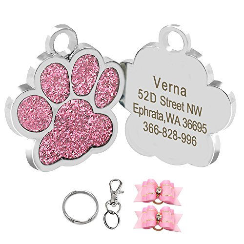Didog Glitter Paw Print Pet ID Tags for Small Dogs and Cats,Personalized - Pet Tag Charm Dog Id