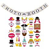 Photo Booth Props Kit (55 pcs) Assorted Party Decorations Pack BONUS Banner Kit by Marnick