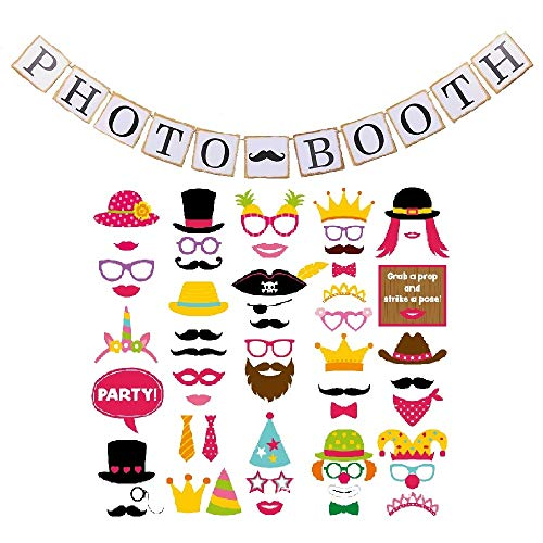 Photo Booth Props Kit (55 pcs) Assorted Party Decorations Pack BONUS Banner Kit by Marnick by Marnick