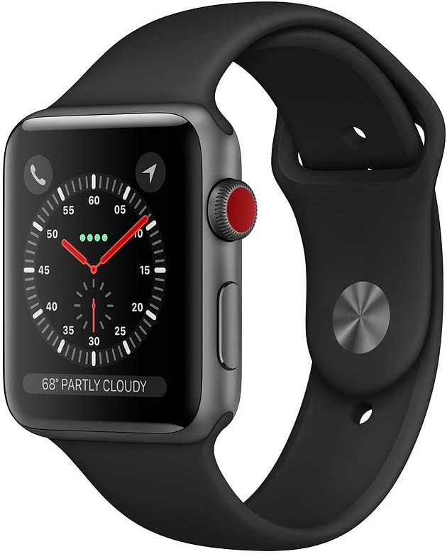 Apple Watch Nike Series 3 (GPS + Cellular, 42MM) - Space Gray Aluminum Case with Midnight Fog Sport Loop Band (Renewed)