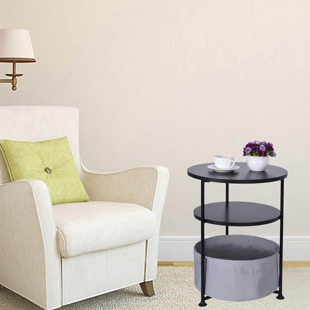 Console Table Coffee Table for Living Room Pack 2, Fooeedd Round Sofa Side Table with Storage Basket Couch End Table Entryway Accent Table (B-16.2''×16.2''×14.6'')