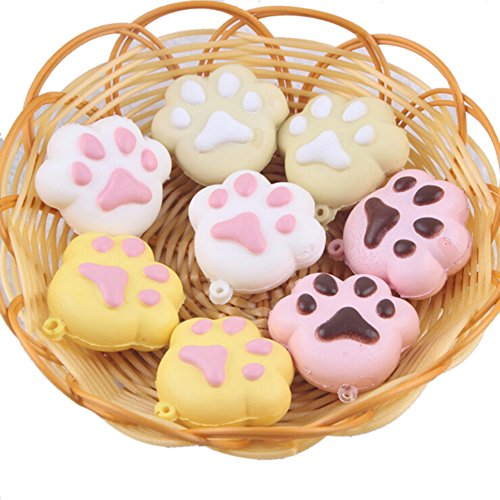Giveme5 Pack of 3 Simulation Cute Biscuit Puppy Footprint Squeezed Charms Phone Bag Straps Decor Soft Bread Keychain Toy Gift 5cm-Random Color