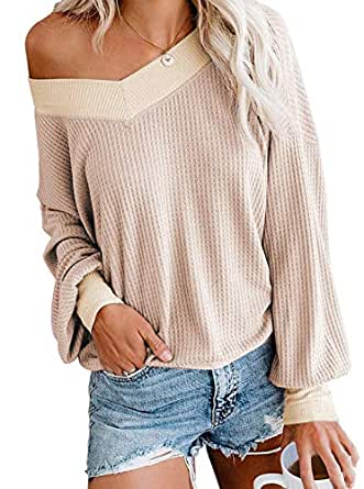 Maegawa Women's Long Sleeve T Shirts Loose V Neck Waffle Knit Tops Sweater Off Shoulder Pullover Sweater (Small, Apricot)