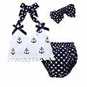 JOYEBUY 3PC Baby Girls Clothing Set Anchor Tops+Polka Dot Briefs+Headband Outfits Set Sunsuit (White, 6-12 Months)