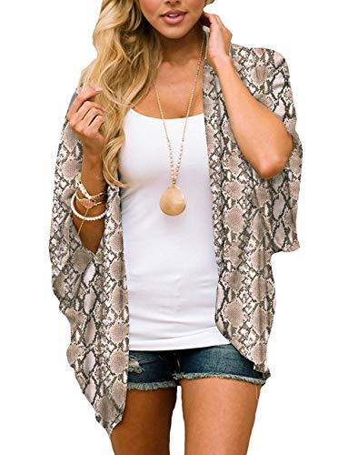 Chunoy Women Plus Size Summer Short Sleeve Shawl Chiffon Kimono Cover Up XX-Large