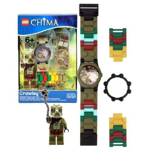 Lego Year 2013 Legends of Chima Series Watch with Minifigure Set #9000416 - CRAWLEY Watch Plus Crawley Minifigure with Whip (Water Resistant: 50m/165ft)