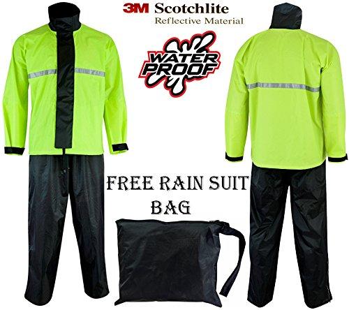 SPEED MAXX LTD Motocross moto 2 pezzo impermeabile riflettente Hiviz nero Rainsuit Oversuit giacca pantaloni tuta antipioggia over tuta SM-1112