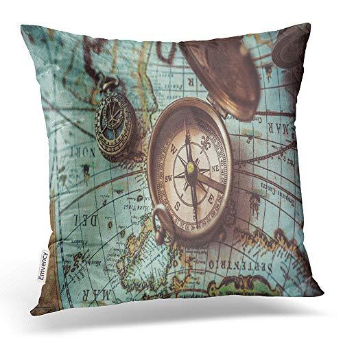 Emvency Throw Pillow Covers Antique Bronze Emblem Compass Mini Compass Necklace Pendant Binocular Decor Pillowcases Polyester 20 X 20 Inch Square Hidden Zipper Home Cushion Decorative -