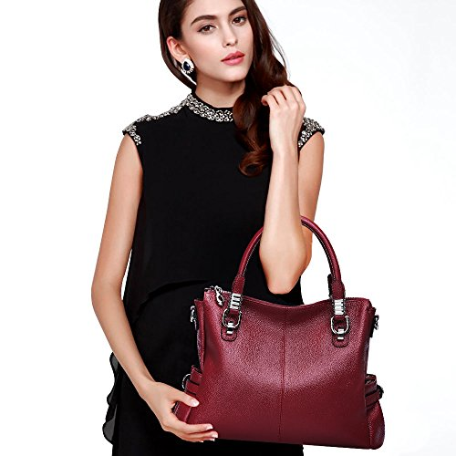 Lady Purs Tote Top Shoulder Rose Red Zone S Genuine Leather Red Vintage Bag Handle Wine Crossbody Women Handbags q87BBOxwX
