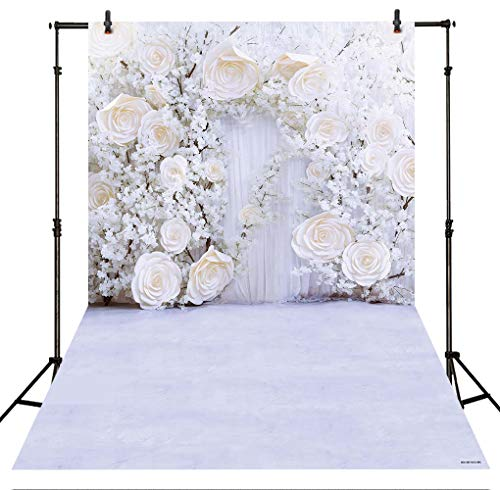 (Allenjoy 5x7ft White Floral Wall Wedding Backdrop Curtain no Crease Soft Fabric 3D Flower Wedding Reception Ceremony Bridal Shower Photography Background Decoration Supplies Studio Booth)
