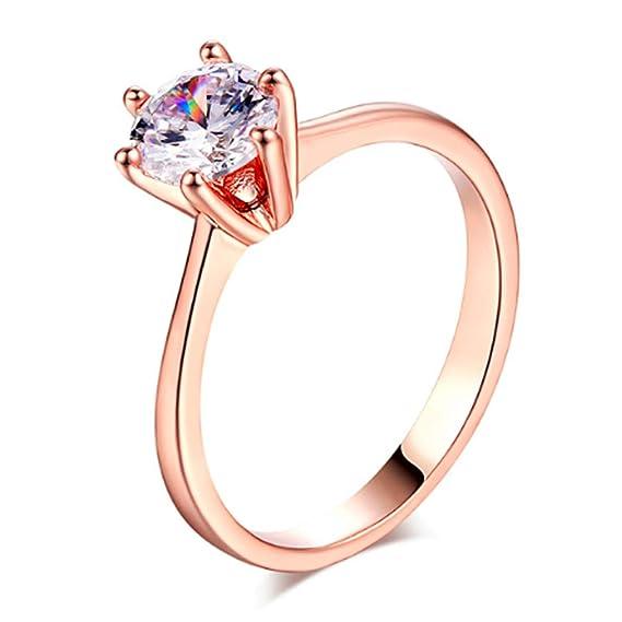 minorista online 25eb5 59381 Anillo de Compromiso para Mujer Plata de Ley 925 1Kilate - Accesorio  Diamante - Oro Rosado (6.5, Rose Gold)
