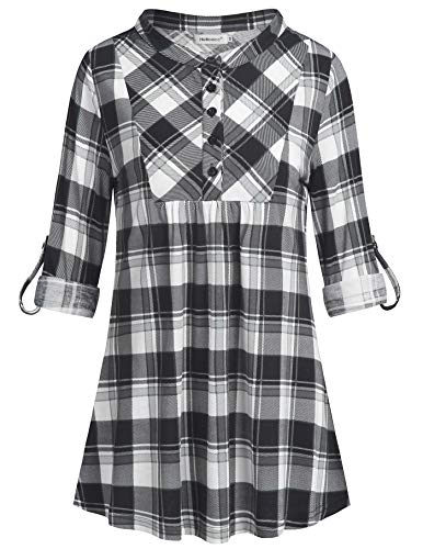 Helloacc Office Blouses for Women,Long Cuff 3 4 Sleeve Plaid Shirts Flowy Tunics Solid Color with Black White Checked Patterns Printed Loose Fit Tees Dressy Casual Workwear Stylish College Teacher M