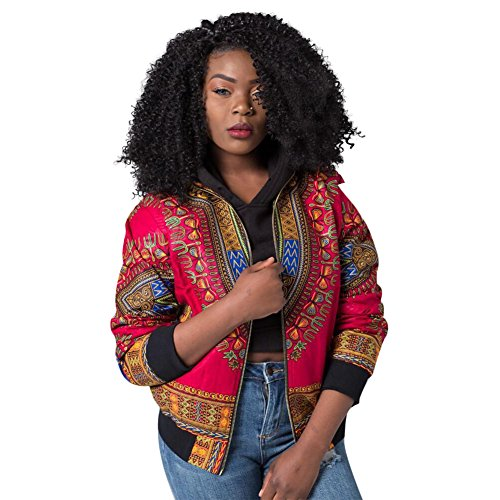 Women's Long Sleeve Vintage Traditional African Print Classic Baseball Short Biker Bomber Jacket Coat Red, Large (Vintage Bomber)