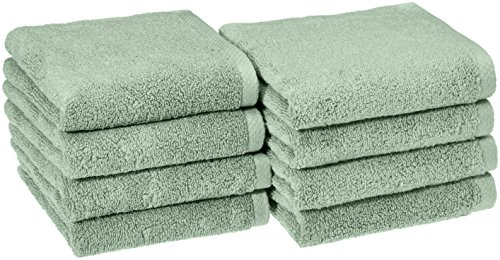 AmazonBasics Quick-Dry Hand Towels - 100% Cotton, 8-Pack, Seafoam Green