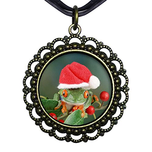 GiftJewelryShop Bronze Retro Style Holly Hopping Santa Frog Flower Pendant Charm Necklaces #21