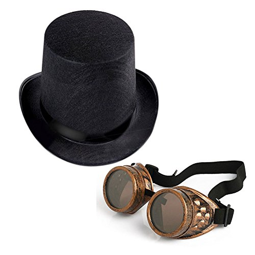 (Steampunk Hat with Goggles,Vintage Victorian Flip Aviator Goggles Perfect for Cyber Punk Gothic Cosplay and Costumes Bronze)