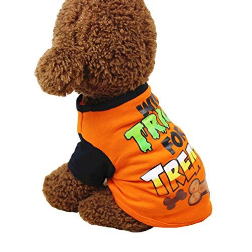 BUYITNOW Halloween Dog Shirt Pet Costumes T-Shirt Pumpkin