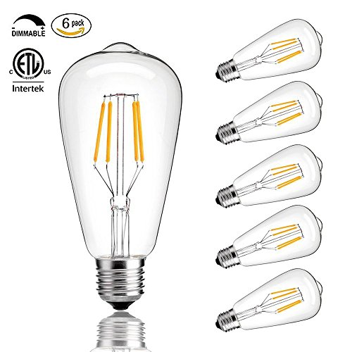 CMYK Vintage Edison LED Bulb, Dimmable 4W ST64 Antique Bulb, 40W Incandescent Equivalent, 330 Lumens, E26 Base, 2700K, Soft Warm White Filament Light For Decorate Home, Restaurant, Office, Pack of 6 (Led Like)