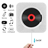 CD Player, Wrcibo Wall Mountable Bluetooth CD Player Speaker Upgraded Version with Remote HiFi Speaker USB Drive Player and Aux in & Headphone Jack (White)