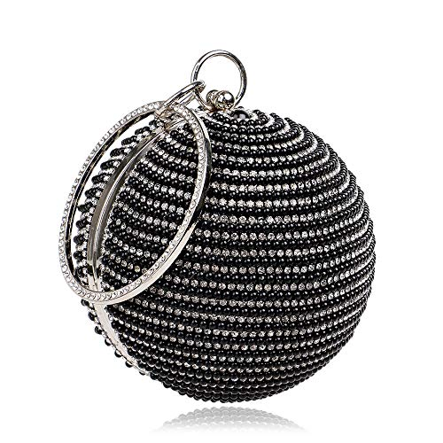 Party Sac Clutch Sac Box Dames Clutch Ladies Argent à Banquet Couleur Styhatbag de Main Sac de soirée sphérique Perle de de Robe Crystal Womens Noir fête Girls q1xUwBv