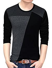 "<span class=""a-offscreen"">[Sponsored]</span>Men Soft Elasticity Classic Fit Block Stitch Crew Neck Long Sleeve Jersey T Shirt"