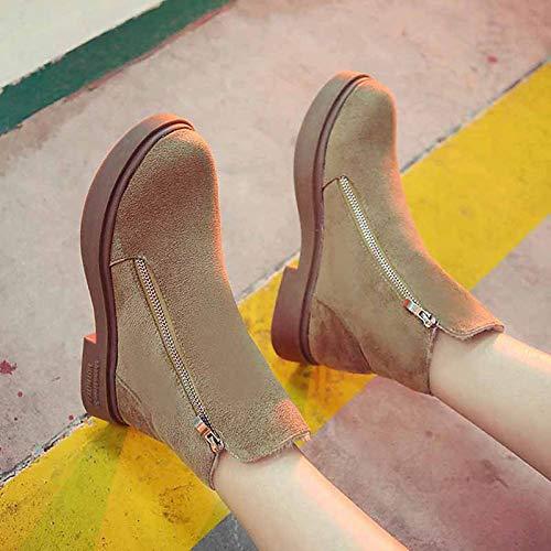 IWxez Damen Schneestiefel PU (Polyurethan) Winter Casual Stiefel Flacher Absatz Mitte der Wade Stiefel Schwarz Khaki