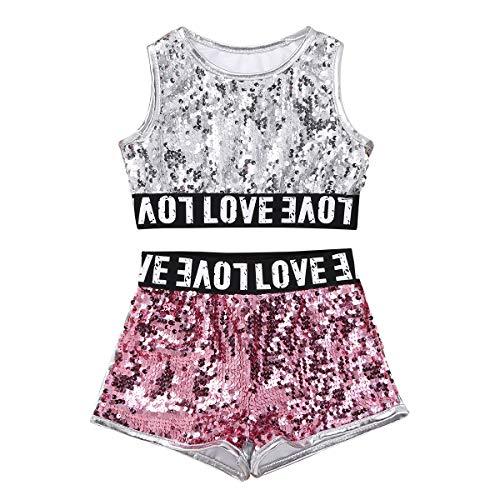 MSemis Kids Girls Boys Sequins Hip-hop Jazz Performance Costumes Crop Top Shorts 2pcs Modern Ballet Dance Outfit Silver 12-14 -