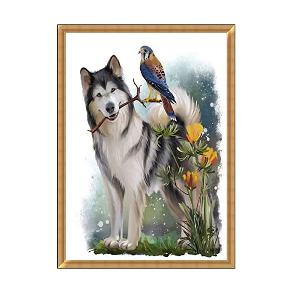 """Dog Diamond Painting- Malamute Diamond Painting Kits, Full Coverage, Round Rhinestone, DIY Tool Kit Art Supplies- Fun Gifts for Friends&Family, Adults&Children, Craftwork for Indoor Décor(12""""x16"""") 5"""