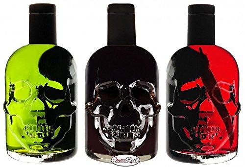 Absinth Totenkopf Trio je 0,5L Green/Black/Red Chili Mit max. erlaubtem Thujon 35 mg/L 55%Vol