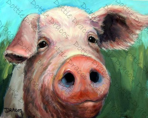 Print Pig - Pig on green and blue background, Print of Original Painting by Dottie Dracos, Print sizes from 8x10
