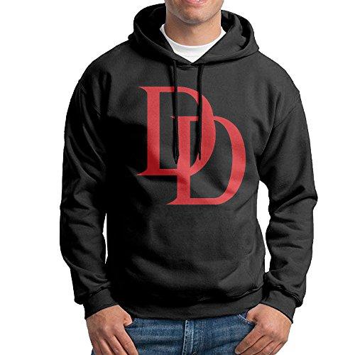 The Punisher Captain America Costume (FUOALF Mens Pullover Daredevil Logo Hooded Sweatshirt Black M)